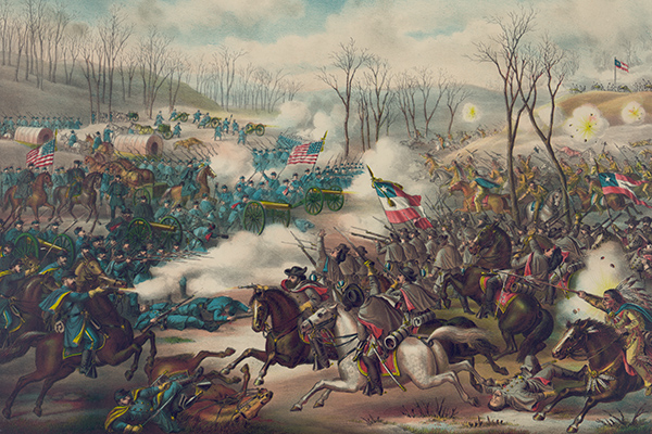 At Pea Ridge, Confederate cavalry and infantry, along with Native American troops, attack Union cannon and infantry. Courtesy of the Library of Congress.