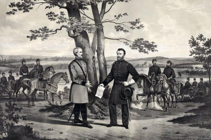 Illustration of General Lee surrendering to General Grant. Courtesy of the Library of Congress.