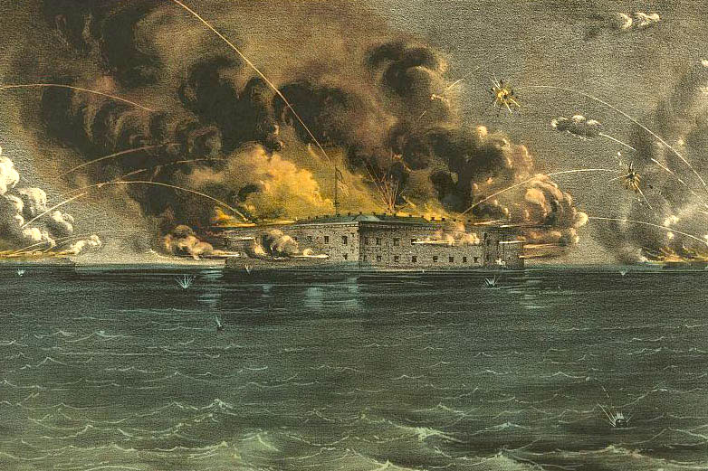 Currier & Ives portrait of the Confederate attack on Fort Sumter. Courtesy of the Library of Congress.