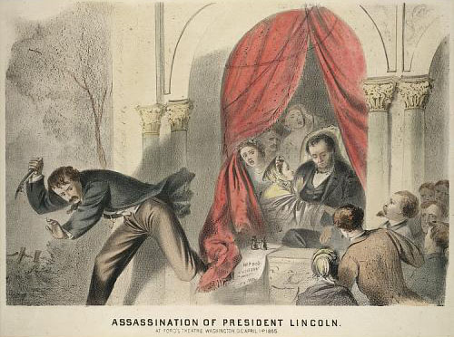 Portrait of John Wilkes Booth fleeing the scene of President Lincoln's assassination. Courtesy of the Smithsonian Institution.