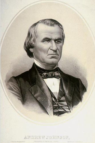 Lithograph of Andrew Johnson, ca. 1865. Courtesy of the Smithsonian Institution.
