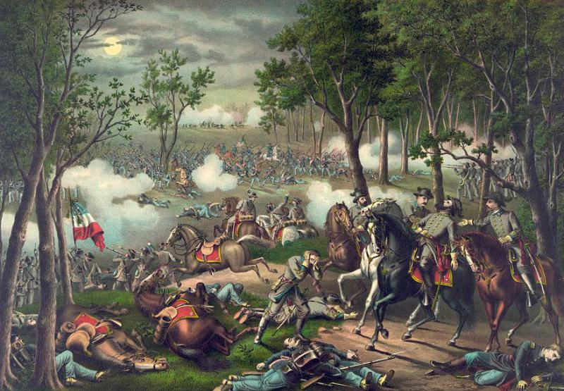 Kurz & Allison portrait of the Battle of Chancellorsville. Courtesy of the Library of Congress.