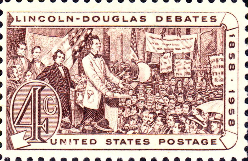 1958 U.S. postage stamp commemorating the Lincoln-Douglas debates of 1858. Courtesy of the U.S. Government, Post Office Department.