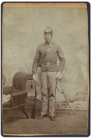 "Sergeant John Harris, a ""Buffalo Soldier"" in the 10th U.S. Cavalry regiment. Image courtesy of Southern Methodist University, Central University Libraries."