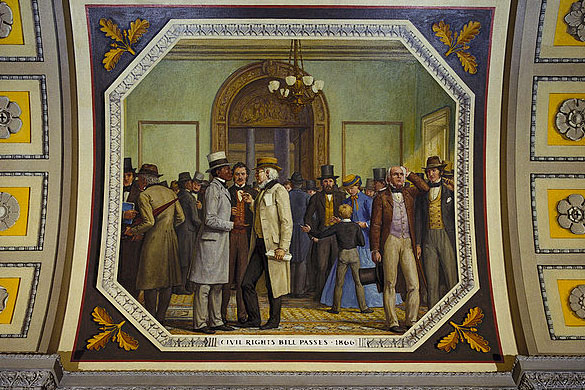 This mural, displayed at the U.S. Capitol, celebrates the passage of the Civil Rights Act of 1866. Image courtesy of the Architect of the Capitol.