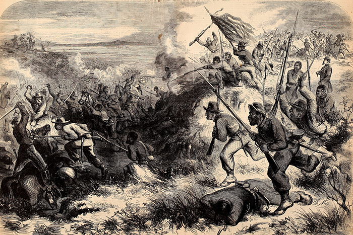 A print of a Thomas Nast wood engraving, depicting the Battle of Island Mound. Courtesy of the Internet Archive.
