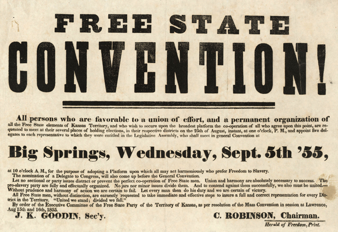 Invitation to the Free State Convention in Big Springs, Kansas. Courtesy of the Kansas Historical Society.