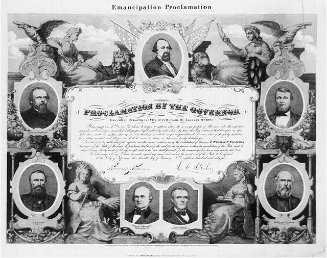 Illustration commemorating Missouri's Emancipation Proclamation. Courtesy of the Library of Congress.