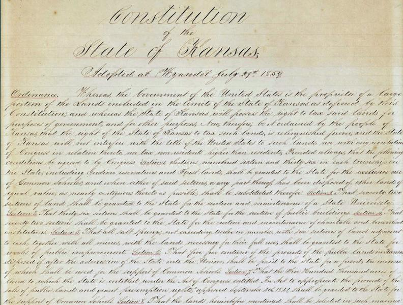 The beginning lines of the Wyandotte Constitution. Courtesy of the Kansas Historical Society.