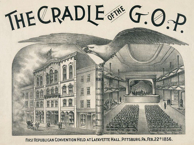 Pittsburgh's Lafayette Hall, where the first Republic National Convention convened. Courtesy of the Library of Congress.
