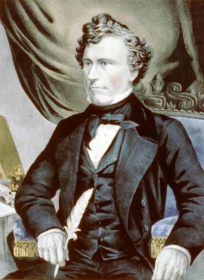 Franklin Pierce, hand-colored lithograph, circa 1853. Image courtesy of the Library of Congress.