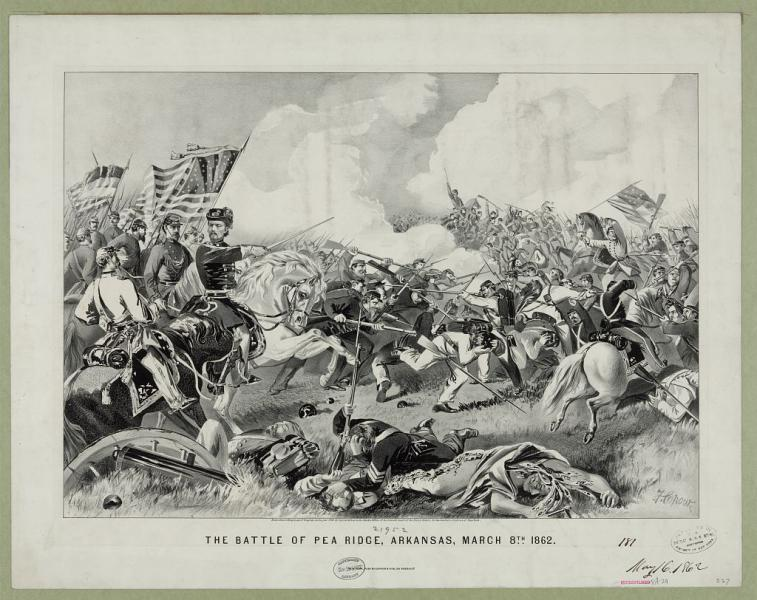 Currier & Ives portrait of the Battle of Pea Ridge. Courtesy of the Library of Congress.