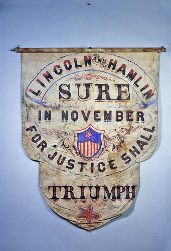 Lincoln and Hamlin campaign banner, 1860. Courtesy of the Smithsonian Institution.