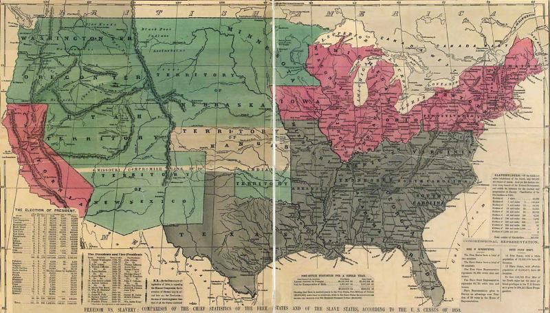 Political map delineating the slave states, free states, and open territories, ca. 1856. Courtesy of the Library of Congress.