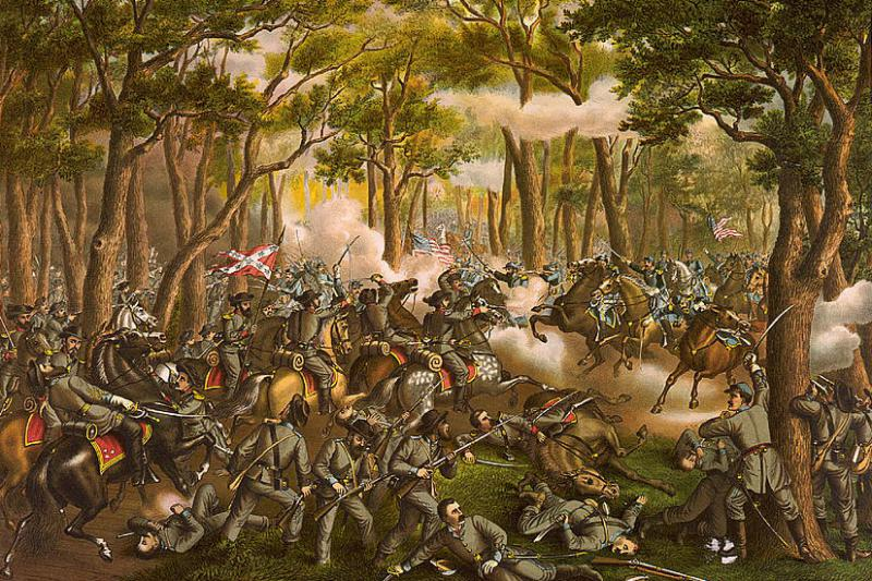 Kurz & Allison portrait of the Battle of the Wilderness. Courtesy of the Library of Congress.