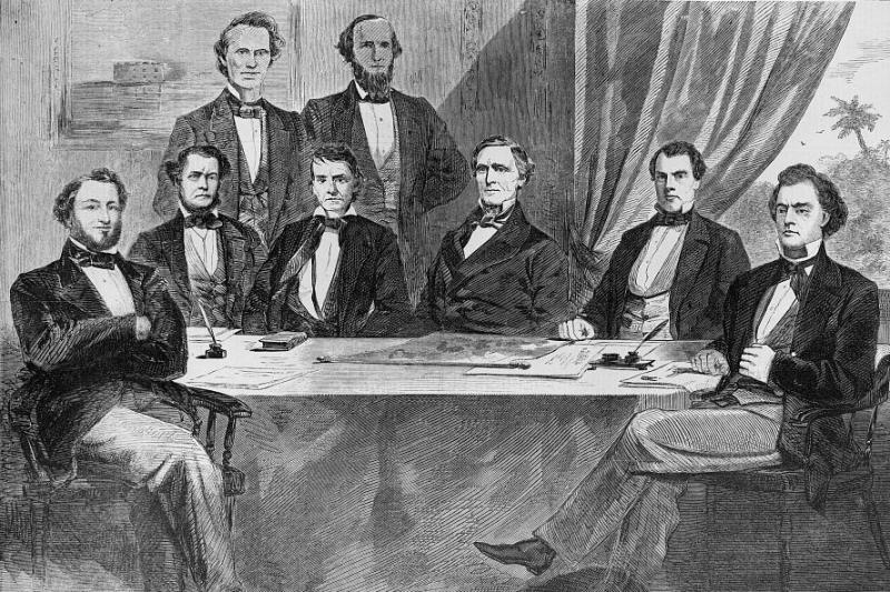 Illustration of Jefferson Davis and his Confederate cabinet, originally printed in Harper's Weekly. Courtesy of the Library of Congress.