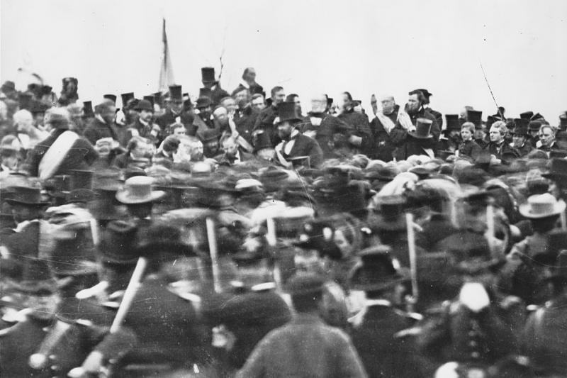 President Lincoln delivering the Gettysburg Address. Courtesy of the Library of Congress.