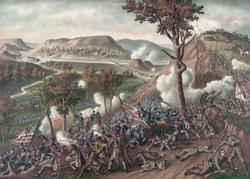 Kurz & Allison portrait of the Battle of Missionary Ridge. Courtesy of the Library of Congress.