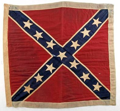 A 13-star Confederate Battle flag. Courtesy of the Smithsonian Institution.