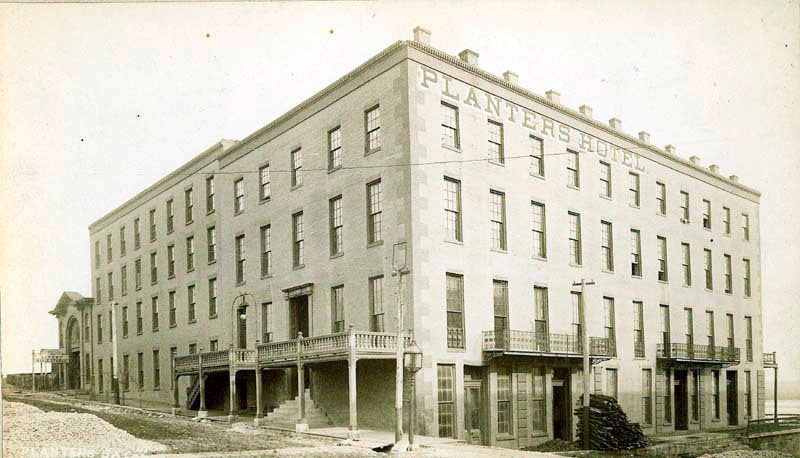 The Planters Hotel in Leavenworth, Kansas, where Abraham Lincoln gave a speech denouncing slavery and popular sovereignty. Courtesy of the Kansas Historical Society.