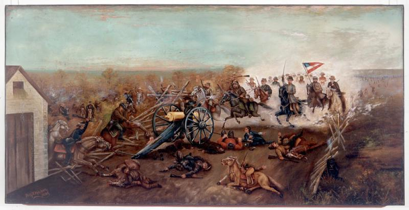 Benjamin D. Mileham painting of the Battle of the Big Blue (Byram's Ford). Courtesy of the Kansas Historical Society.