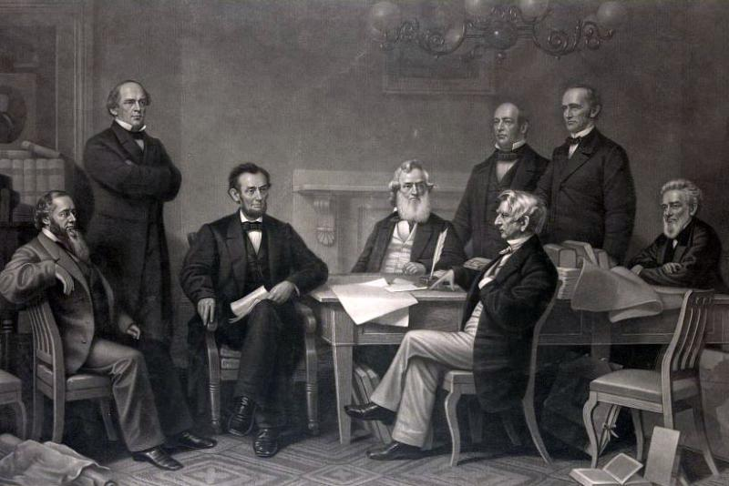 Abraham Lincoln reading the Emancipation Proclamation to his cabinet. Painting by F.B. Carpenter. Courtesy of the Library of Congress.