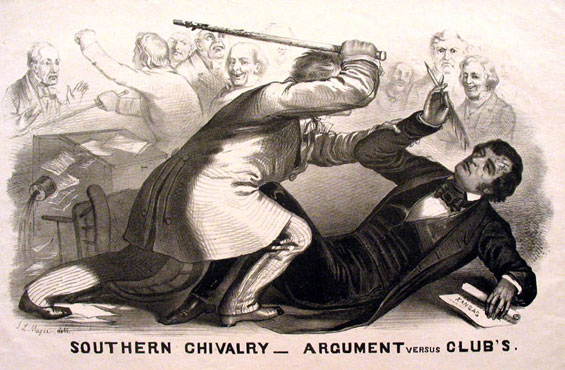 Lithograph of Preston Brooks' 1856 attack on Sumner. Courtesy of the New York Public Library.