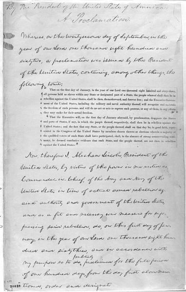 Photograph of President Lincoln's handwritten draft of the final Emancipation Proclamation. Courtesy of the Library of Congress.