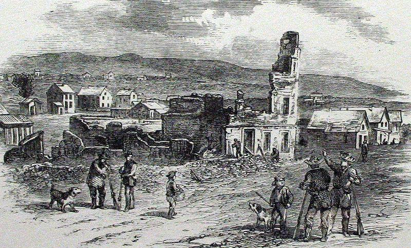 Depiction of the ruins of Free State Hotel following the Sacking of Lawrence. Courtesy of the Internet Archive.