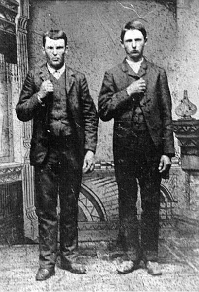 Jesse and Frank James, taken in Carolinda, Illinois, in 1872. Courtesy of U.S. Army Corps of Engineers.