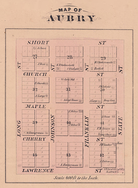 An 1874 plat of Aubry, Kansas. Courtesy of the Johnson County Museum.