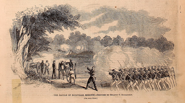 The Battle of Boonville, as depicted by Orlando C. Richardson. Courtesy of the Internet Archive.