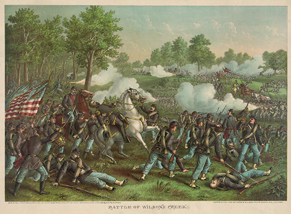 Lithograph of the Battle of Wilson's Creek. Courtesy of the Library of Congress.