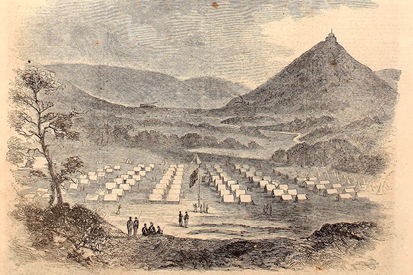 Camp Blood in 1861, near Pilot Knob, Missouri. Camp Blood became Fort Davidson in 1863 when permanent fortification was constructed. Courtesy of the Internet Archive.
