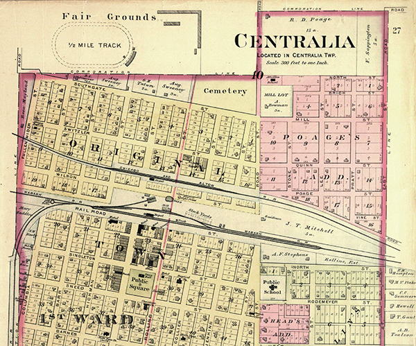1898 plat of Centralia, Missouri. Courtesy of the State Historical Society of Missouri - Columbia.
