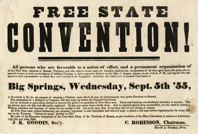 1855 invitation to the Free State Convention in Big Springs, Kansas. Courtesy of the Kansas Historical Society.