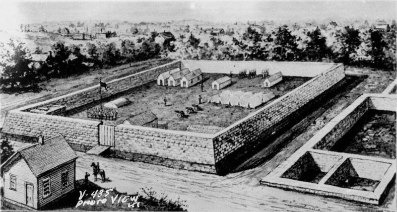 Camp Union, built at the future site of the Coates House Hotel in Kansas City, Missouri. Image courtesy of the Missouri Valley Special Collections.