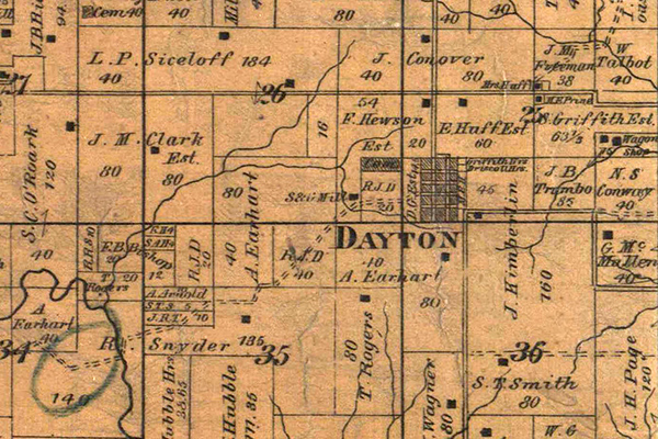 1877 plat of Dayton, Missouri. Courtesy of the State Historical Society of Missouri - Columbia.