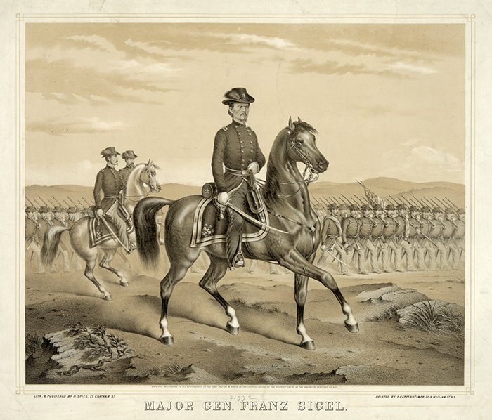 Print showing Major General Franz Sigel, riding on horseback with troops marching in formation. Courtesy of the Library of Congress.