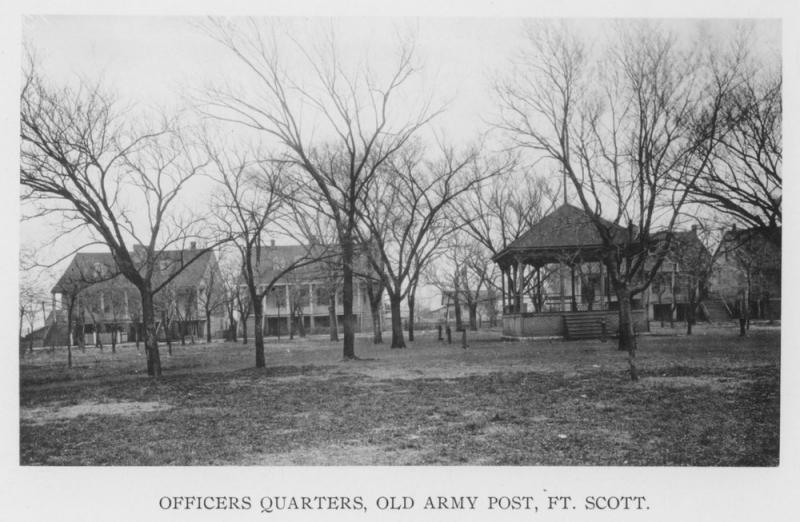 The former fort's officers' row in the town of Fort Scott (c.1900). Courtesy of the Kansas Historical Society.