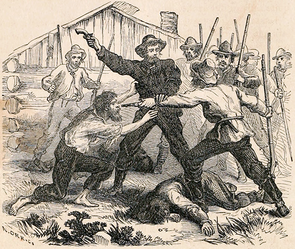 Colonel Henry T. Titus being captured by Samuel Walker's men at Fort Titus. Courtesy of the Internet Archive.