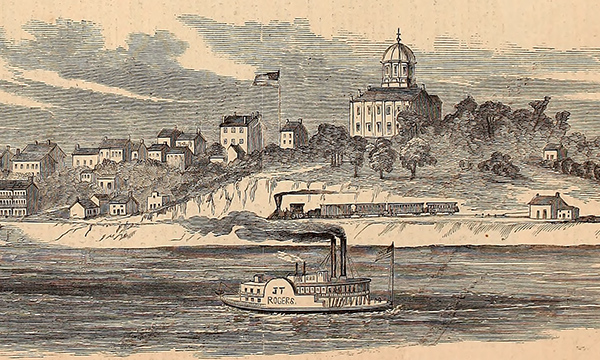 This sketch by Orlando C. Richardson depicts Jefferson City, Missouri. Courtesy of the Internet Archive.