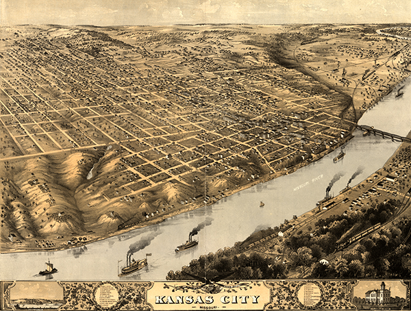 Kansas City, Missouri, shortly after the end of the Civil War. Image courtesy of the Library of Congress.