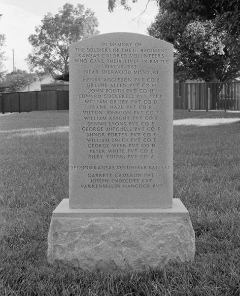 A memorial in the Fort Scott National Cemetery honors members of the 1st Kansas Colored Volunteer Infantry who died in a guerrilla attack on Sherwood, Missouri in 1863. Courtesy of the Library of Congress.