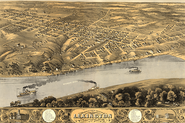 Bird's eye view of Lexington, Missouri. Courtesy of the Library of Congress.