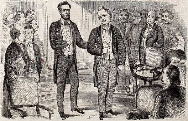 Illustration of James Buchanan leading Abraham Lincoln into the Senate Chamber before Lincoln's inauguration. Image courtesy of the Internet Archive.
