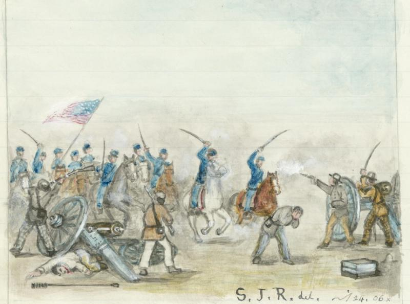 Painting of the Battle of Mine Creek, by Samuel J. Reader. Courtesy of the Kansas Historical Society.