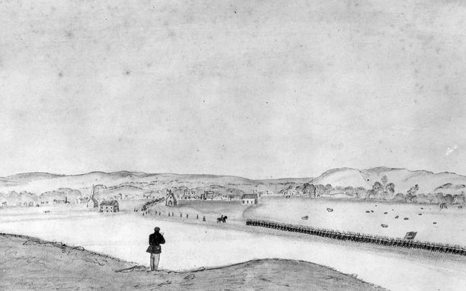 View of Manhattan, Kansas, drawn by a Civil War soldier. Courtesy of the Kansas Historical Society.