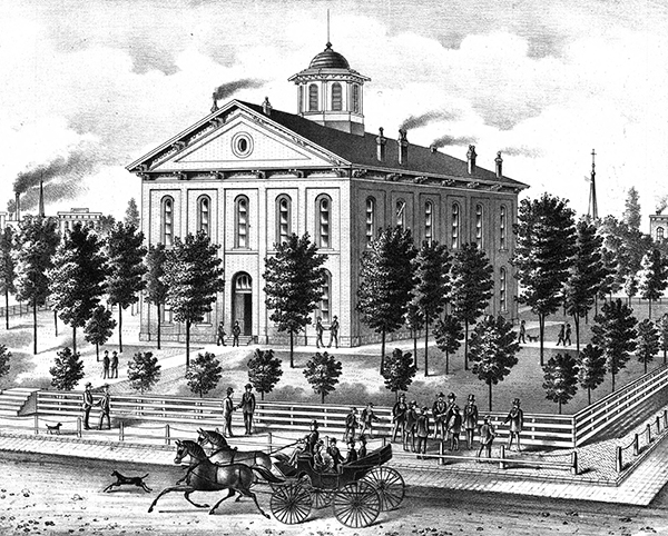 The Saline County Courthouse in Marshall, Missouri. Courtesy of the State Historical Society of Missouri - Columbia.