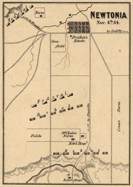 The Battleground of the Second Battle of Newtonia. Courtesy of the Library of Congress.